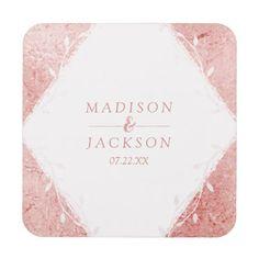 Rose Gold Shimmer Metallic Foil Wedding Monogram Beverage Coaster