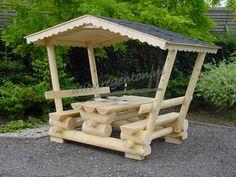 Overdekte picknicktafel rondhout lang 200 cm - Webshop - Regenton.nl
