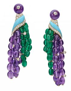 Bulgari earrings in yellow gold, with turquoises, 30.45ct emeralds, 73.46ct amethysts, two amethysts totalling 7.80ct and 2.04ct diamond pave.