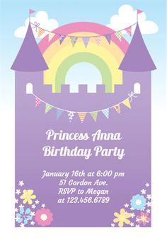 Purple Castle - Free Birthday Invitation Template | Greetings Island