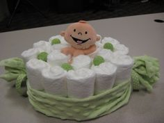 Pea in a Pod Themed Diaper Cake