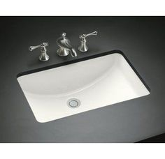 Love This Sink Kohler K 2660 8 0 Vox Rectangle Vessel With Faucet Deck White Bathroom