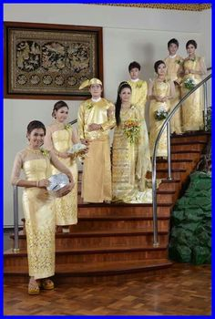 A Burmese wedding - the bridal party.