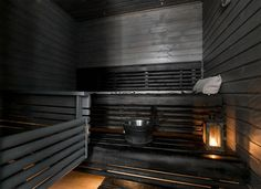 musta-sauna (Lapin laude) Dark Colors, Colours, Saunas, Home Spa, Blinds, Love Seat, New Homes, Cottage, Cabin