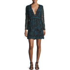 Tryb Kateria Long-Sleeve Lace Mini Dress (€155) ❤ liked on Polyvore featuring dresses, black multi, long sleeve mini dress, lace a line dress, plunging v neck dress, a line dress and lace dress