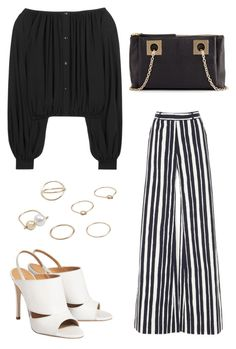 Fun B&W by kiranz on Polyvore featuring polyvore, fashion, style, Yves Saint Laurent, Martin Grant, See by Chloé, MANGO and clothing
