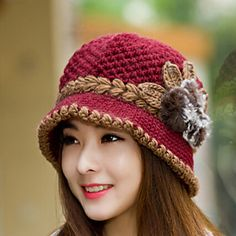 Womens Wool Flowers Knitting Crochet Casual Cap Beanies Cap 2015 – $6.99