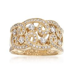 1.00 ct. t.w. Diamond Swirl Ring in 14kt Yellow Gold