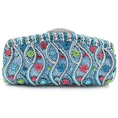 Santimon Women Clutch Bling Purses Evening Bags Wavy with Removable Strap and Gift Box Clutches for Women Blue Bling Purses, Occasion Bags, Clutches For Women, Wedding Clutch, Rhinestone Wedding, Cheap Bags, Chain Shoulder Bag, Clutch Bag, Clutch Handbags