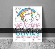 Unicorn Birthday Poster  Printable Invitation  by BooBeanDesign