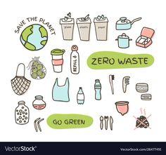 Zero waste elements set fabric bags glass jars vector image on VectorStock Menstrual Cup, Web Design, Graphic Design, Doodle Designs, Fabric Bags, Zero Waste, Glass Jars, Adobe Illustrator, Project Ideas