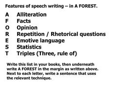 Features of speech writing – in A FOREST. A Alliteration F Facts O Opinion R Repetition / Rhetorical questions E Emotive ... ⭐️ Pin for later ⏳ rhetorical essay, comparing essays, dental school personal statement, good persuasive essay topics, narrative paragraph, example of a personal statement for medical school Persuasive Essay Topics, Narrative Essay, Persuasive Writing, Argumentative Essay, Essay Writing, Sample Essay, Sample Resume, Apa Paper Example, Lesson Plan Organization