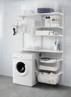 Versatile storage for anywhere in your home. That's the IKEA ALGOT series. Bec… Versatile storage for anywhere in your home. That's the IKEA ALGOT series. Because ALGOT can be easily customized to fit your space and storage needs, it can be used throughou Ikea Laundry Room, Small Laundry Rooms, Laundry Closet, Laundry Room Organization, Laundry Room Design, Basement Laundry, Ikea Utility Room, Ikea Closet, Laundry Baskets