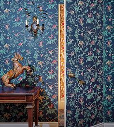 An iconic Cole & Son design.  New this week | Hummingbirds Wallpaper by Cole & Son | Jane Clayton