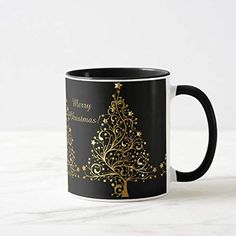 Black Christmas Trees, Beautiful Christmas Trees, Christmas Mugs, Xmas Tree, Christmas Themes, Gifts For Your Boss, Christmas Stationery, Ceramic Mugs, Cool Gifts