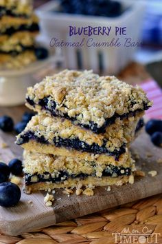 Blueberry Pie Oatmeal Crumble Bars - only FOUR ingredients! | MomOnTimeout.com | #recipe #dessert #pie