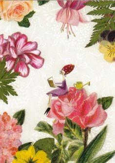 Lezen in de bloementuin - Silke Leffler (postcard)