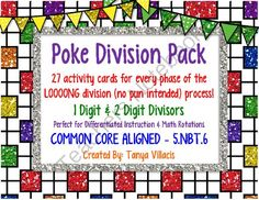 Differentiated Poke Pack for Long Division COMMON CORE ALIGNED 5.NBT.6 from A Class Act on TeachersNotebook.com -  (7 pages)  - This purchase contains 27 poke cards for long division. 1 digit & digit divisors are included, with 2 digit and 3 digit dividends. Answer key and directions are included. Enjoy!