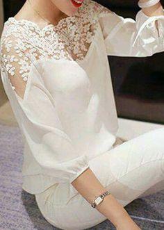 White Lace Splicing Elastic Waist Chiffon Blouse - Luxe Fashion New Trends Modest Fashion, Fashion Dresses, Style Fashion, Face Fashion, Fashion Blouses, Daily Fashion, Fashion Women, Fashion Trends, Fashion Design