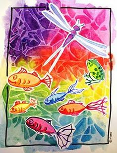 Nice technique with watercolor and plastic foil. Simple idea to take out the shapes … – Knippen Painting Lessons, Painting For Kids, Art Lessons, Classroom Art Projects, Art Classroom, Diy For Kids, Crafts For Kids, Arts And Crafts, Round Robin