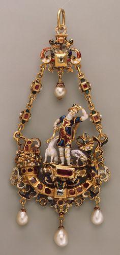 Pendant, ca. 1600, German (?), Gold, enamel, pearls, diamonds, rubies, 4-1/2 x 2 in. (11.4 x 5.1 cm)