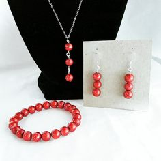 Christmas Jewelry Set 925 Sterling Silver Red Beads by KraftyShop #christmas #jewelry #gift
