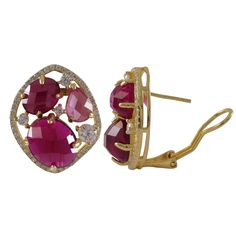 Luxiro Gold Finish Sterling Silver Lab-created Ruby Stud Earrings (Pink Ruby), Women's, Size: Small