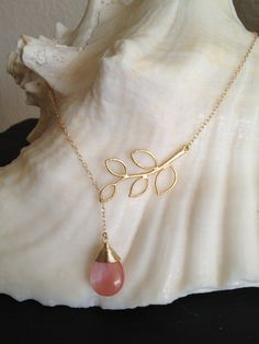 Cherry Quartz Golden Leaf Lariat Necklace by TheArtsyNomad on Etsy
