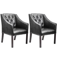 CorLiving LAD-608-C Antonio Accent Club Chair in Black Bonded Leather, Set of 2
