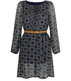 Tenki Blue Tile Print Belted Skater Dress