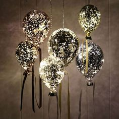 Hanging mirrored metallic balloon lights for child's bedroom Hanging Lights, Fairy Lights, Balloon Lights, Led Balloons, Metallic Balloons, Winter Wedding Decorations, Gold Party, 50th Party, Wedding Wishes