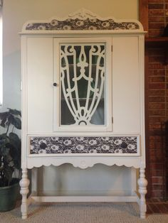 China Hutch Redo With Spray Painted Lace
