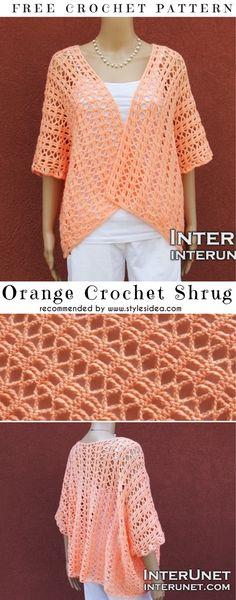 Orange Crochet Shrug Free Pattern | DIY
