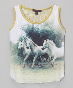 Loving this Soopergirl White Horse Rachel Tank on #zulily! #zulilyfinds