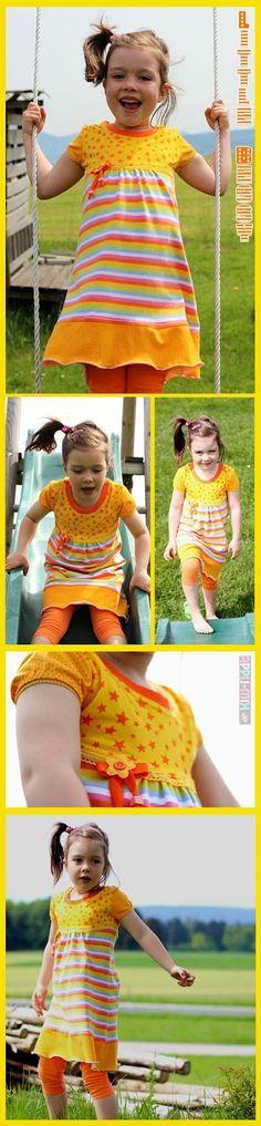 ... treffen auf Hannahs neuem Sommerkleid aufeinander:    LittleBessy  heißt der Schnitt mit der reizenden Passe, den ihr ab heute in vielen...