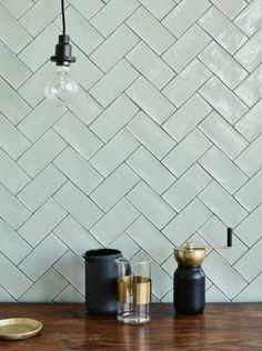 Potters Glaze Gadsby green glazed brick tile shown on the wall tiles Potters Glaze Gadsby Kitchen Wall Tiles Design, Kitchen Splashback Tiles, Tile Design, Wall Tiles For Kitchen, Green Bathroom Tiles, Metro Tiles Kitchen, Green Kitchen Walls, Glazed Brick, Glazed Walls