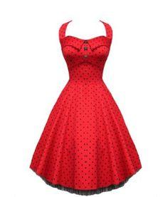 Audrey' Red Polka Dot Vintage 1950's Rockabilly Shorter Prom Dress: Amazon.co.uk: Clothing