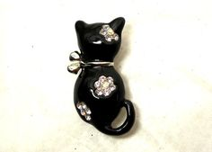 Vintage Cat Brooch Black enamel AB Crystal by JewlsinBloom on Etsy