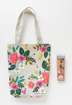 Tote for Birchbox, by Rifle Paper Company Painted Canvas Bags, Cotton Tote Bags, Reusable Tote Bags, Rifle Paper Company, Jute Bags, Motif Floral, Fabric Painting, Handmade Bags, Bag Making