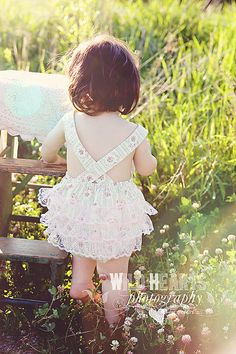 Childrens Clothing Baby Girl Sunsuit Romper by CharmingNecessities, $36.95