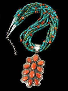 .-Coral and turquoise