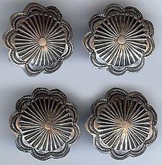 Vintage Set of Four Navajo Indian Sterling Silver Dimensional Stamp Work Buttons | eBay