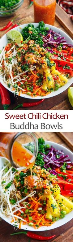 Thai Sweet Chili Chicken Buddha Bowls - List of the best food recipes Asian Recipes, New Recipes, Cooking Recipes, Healthy Recipes, Recipies, Spinach Recipes, Sausage Recipes, Dinner Recipes, Dessert Recipes