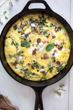 Frittata with pea shoots and bacon