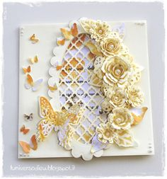 Spellbinders card with Donna Salazar bitty blossoms. Butterfly Cards, Flower Cards, Cool Cards, Diy Cards, Scrapbook Cards, Scrapbooking, Challenge, How To Make Paper Flowers, Spellbinders Cards