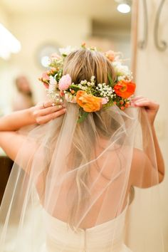 flower crown with veil for wedding