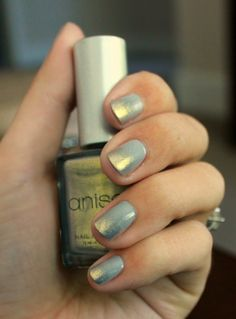 Gold and grey ombre nails