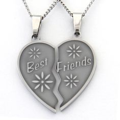 Best Friends Two-piece Heart Necklace ($26) ❤ liked on Polyvore featuring jewelry, necklaces, silver, long chain necklace, heart shaped necklace, chain link necklaces, pendant necklace and chain pendants