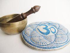 Handmade Round Blue Om Mandala singing bowl cushion by GaneshasRat