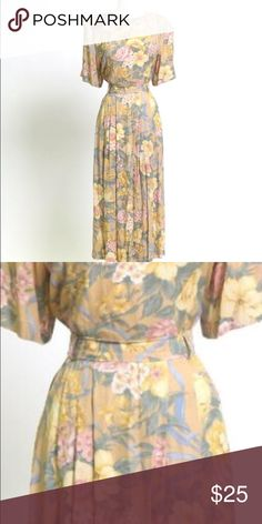 JH Collectibles Floral Dress This is a lovely gently used JH Collectibles brand floral patterned dress. The dress is a US size 12, has 3/4 sleeves, a rounded neckline, long in length and a lovely belted waist.  Retail price is $70.00.  This item ships immediately. 📦 JH Collections Dresses